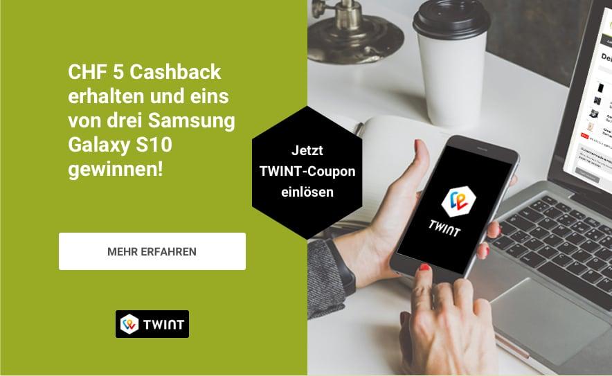 Jetzt twinten, 5 CHF Cashback erhalten und eins von drei Samsung Galaxy S10 gewinnen