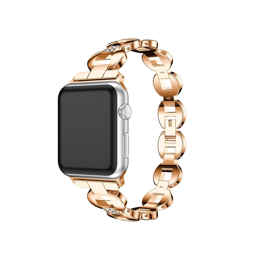 Apple Watch (38 mm / 40 mm) Elegantes Edelstahl Armband Diamant Look - Roségold