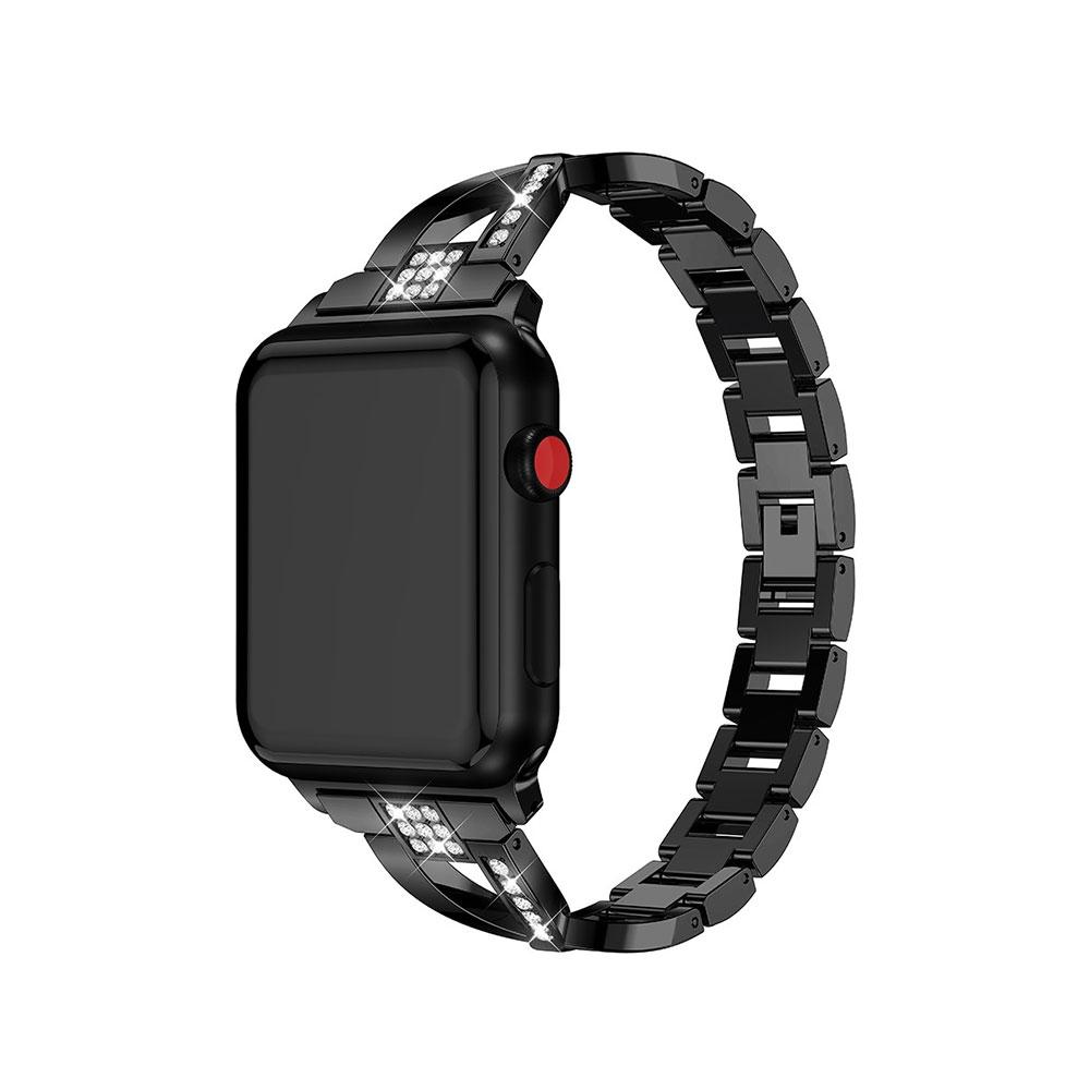 Apple Watch (38 mm / 40 mm) Elegantes Edelstahl Ersatz Armband Diamant Look - Schwarz