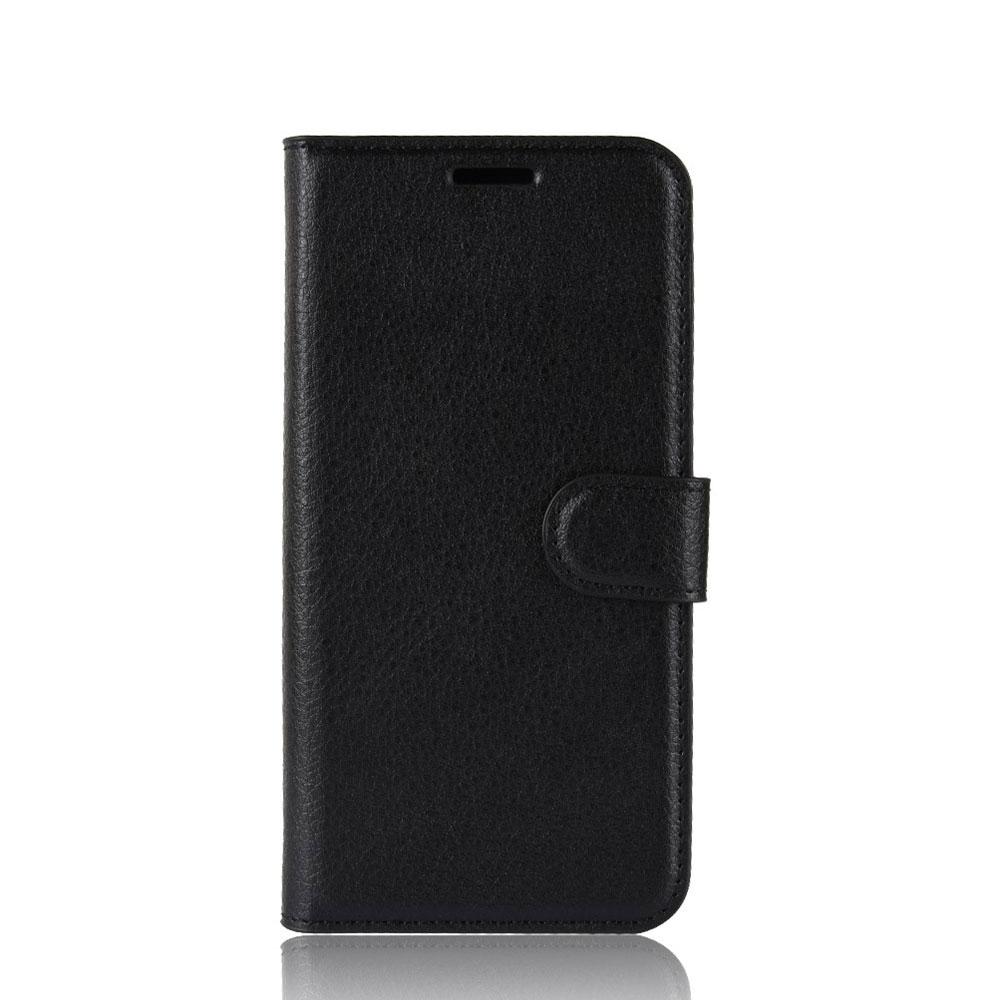Image of BlackBerry Key2 Leder Tasche Flip Cover Litchi Look - Schwarz