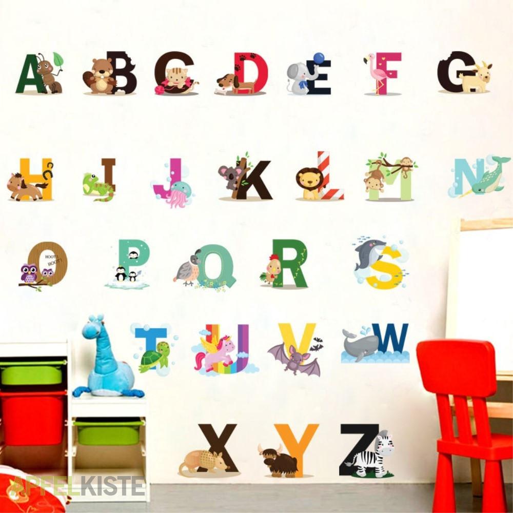 Buchstaben Abc Tier Sticker Wandtattoo Aufkleber Wandsticker 92x108cm