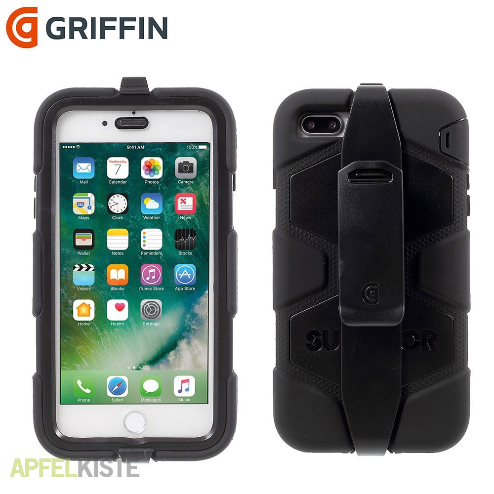 sports shoes bef70 871ec Griffin - iPhone 8 Plus / 7 Plus Survivor All-Terrain Outdoor Hülle +  Gürtelclip - Schwarz