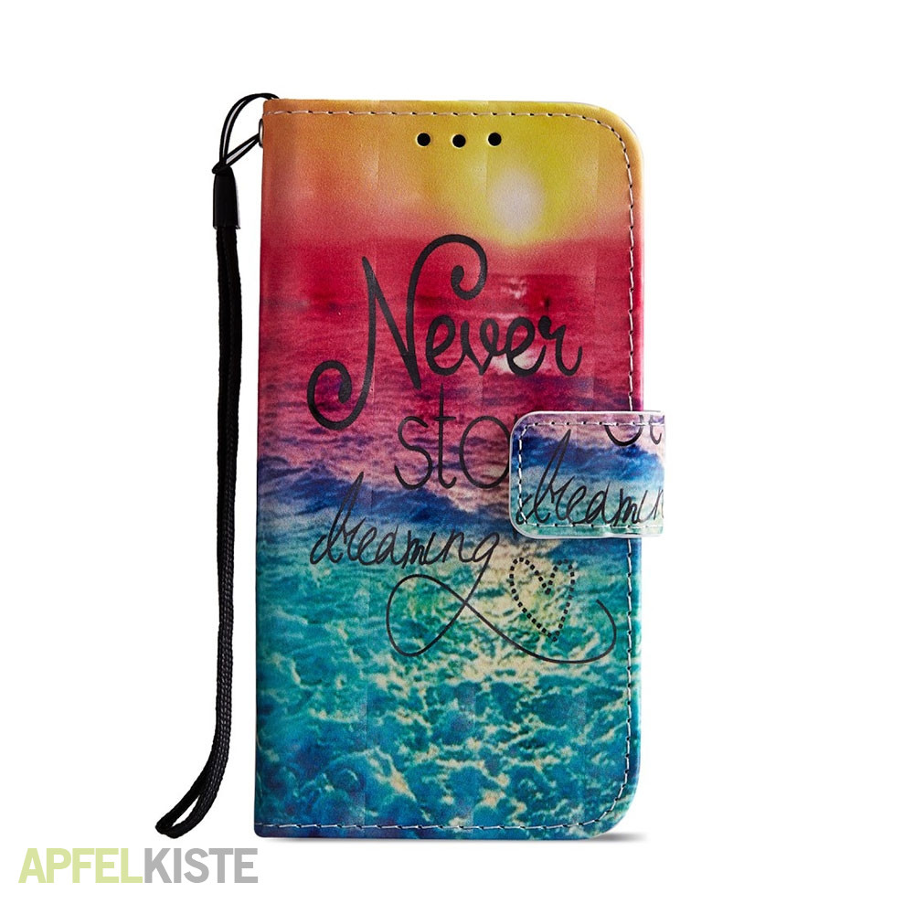 Sony Xperia XZ2 Compact Leder Tasche Hülle mit Kartenfach Never Stop Dreaming