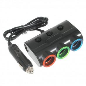 3-fach KFZ Auto Verteiler Splitter Ladegerät Zigarettenanzünder + USB Anschluss - Schwarz