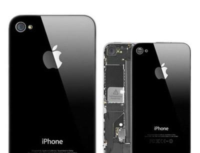 iPhone 4 Backcover + Rückseite aus Glas - Schwarz