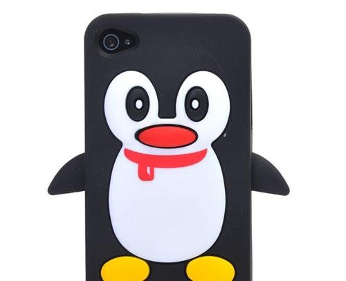iPhone 4 4S Silikon Case Hülle Pinguin - Schwarz