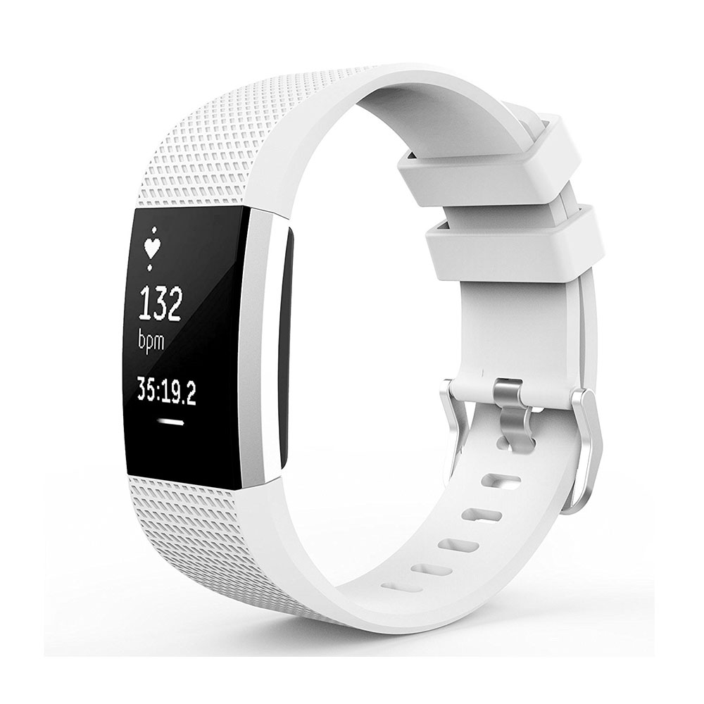 Fitbit Charge 2 Sport Armband aus Silikon (ohne Fitbit Fitness Tracker) -  Weiss