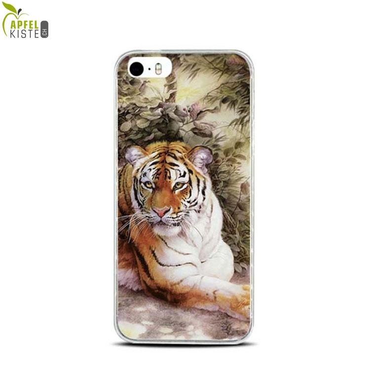 Image of Apfelkiste © - iPhone SE / 5 / 5S Gummi Case Hülle Ultra Thin Tiger in Natur - Transparent