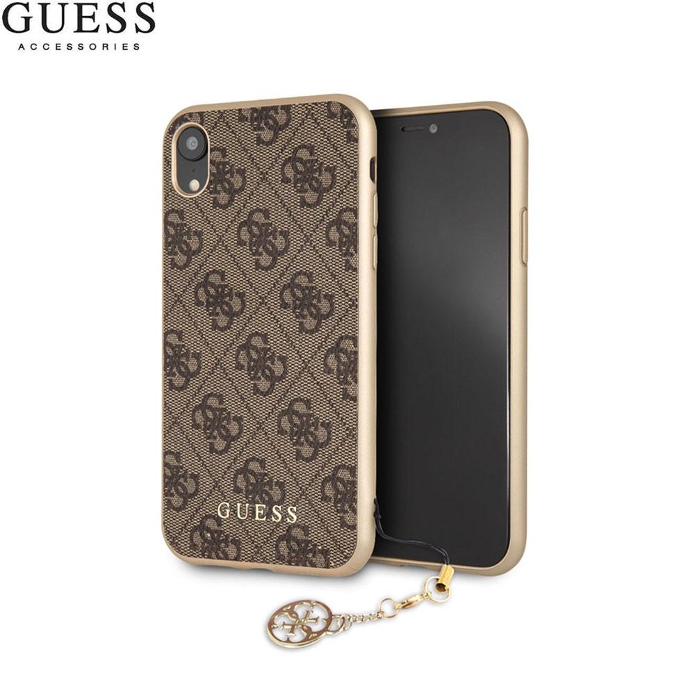 Guess iPhone Xr Charms Hardcase Hülle (GUHCI61GF4GBR) Braun