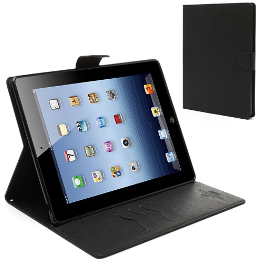 Mercury Goospery - iPad 2 + 3 + 4 Leder Tasche Flipcase - Schwarz