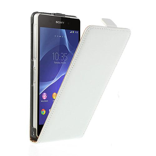 Sony Xperia Z2 Echtleder Tasche Flipcase - Weiss