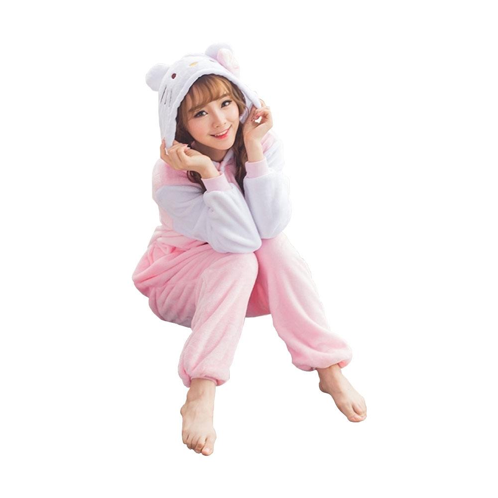 Website für Rabatt Online-Shop Einkaufen Süsse Katze Plüsch Pyjama Gr. L Overall Kostüm Schlafanzug für Erwachsene /  Kinder (Körpergrösse 168-178cm) - Rosa